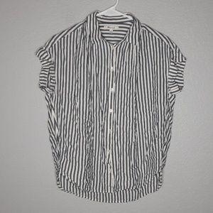 Madewell Gray & White Central Ballad Stripe Shirt